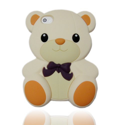 HJX White Iphone 5 Cute 3D Big Teddy Bear Hybrid Silicone case cover for Apple Iphone 5 & 5G + Gift 1pcs Insect Mosquito Repellent Wrist Bands bracelet