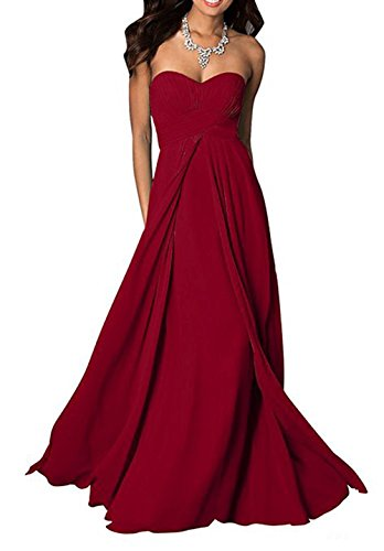 Maxi Burgundy Evening Gowns Bridal Pleated Bridesmaid Wedding Sweetheart Beach Long Amore Dress xPwtYqISP