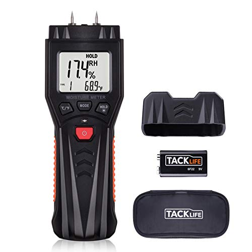Moisture Meter, Digital Damp Meter Detector with 7 Modes, LCD Backlight, Data Hold Function for Wood, Plants, Cement, Range 0.0%~60.0% - Test Pins and Battery Included MWM03