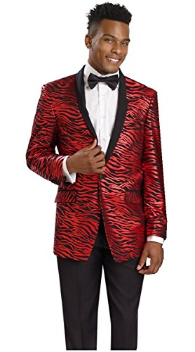 E.J. Samuel Zebra Print Black Red Jacket 2 Piece Mens Suit Wedding Tuxedo M2705 Holiday (54R) by E. J. Samuel