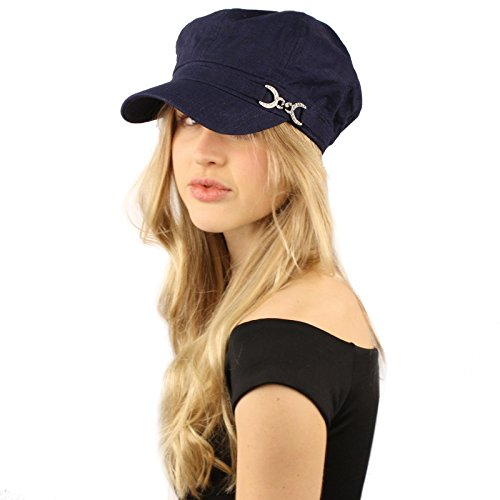 SK Hat shop Summer Cool Linen Cotton Rhinestone newsboy Gatsby Apple Cabbie Cap Hat Navy