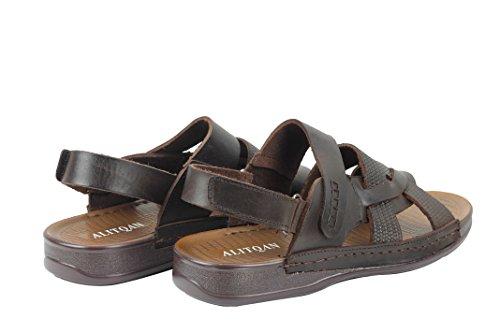 Mens Real Leather Gladiator Sandals Adjustable Strap Slip On Beach Walking Slippers In Black Brown Dark Brown cGDZw28rI