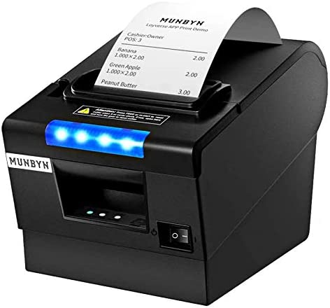 MUNBYN Receipt Printer P068, 3'1/8 80mm Direct Thermal Printer, POS Printer with Auto Cutter - Receipt Printer with USB Serial Ethernet Windows Driver ESC/POS Support Cash Drawer