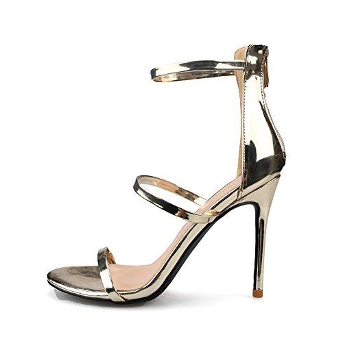 Mujer del Color Tamaño Fino Dedo Correa Tacón Abierto Romanas pie 41 Tacón Sexy 10cm Palabra Sandalias de Alto Zapatos Oro tZ6nT