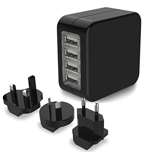 Travel Adapter, MoMoCity International Worldwide Travel Adapter 4-Port USB Wall Charger Power Adapter Travel Plug with US UK EU AU Plugs for iPhone iPad Samsung Smartphone Camera (Black)