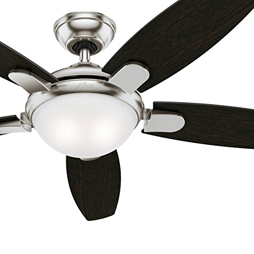 Hunter 54 in. Contemporary Ceiling Fan in Brushed Nickel with LED Light and Remote Control Renewed