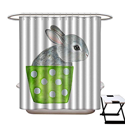 Funny Shower Curtain Cute Fluffy Little one Grey Bunny Sitting in Lime Green Polka dots Flower Pot Hello Welcome Spring Greeting Card Banner Poster Shower CurtainW69 x L84