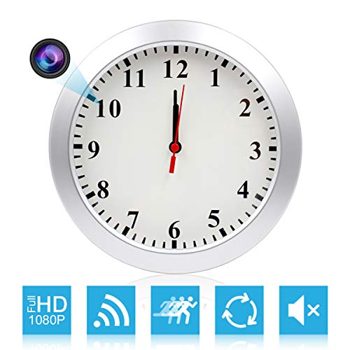 CAMXSW HD 1080P WiFi Spy Camera (5000mAh Battery) Wall Desk Clock Hidden Camera Alarm Clock for Home Security Nanny Cam Support iOS/Android/PC Remote Real-time Video and Motion Detection Alarm