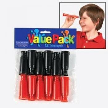 6 Dozen Miniature Plastic Toy Red & Black Pirate Telescopes by Fun Express