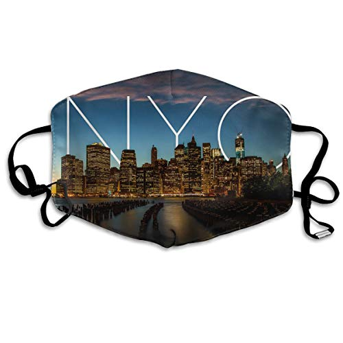 Hateone Unisex Unique Mouth Mask - New York City Art Polyester Anti-dust Masks - Fashion Washed Reusable Face Mask for Outdoor Cycling ()
