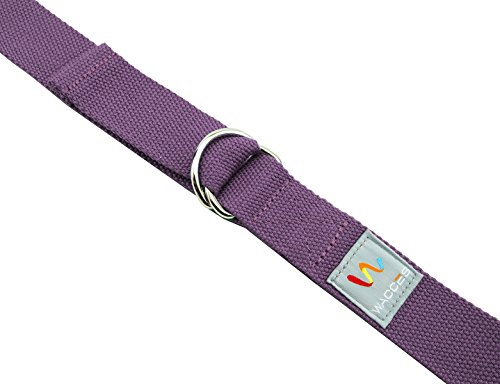 Wacces D-Ring Buckle Cotton Yoga Straps Bands - Best for Stretching - ( 8 ft - Purple )