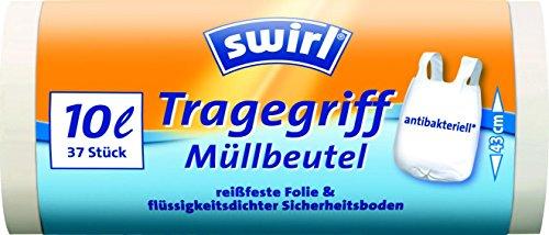 Swirl 10 l Tragegriff Müllbeutel, 4er Pack (4 x 37 Stück)