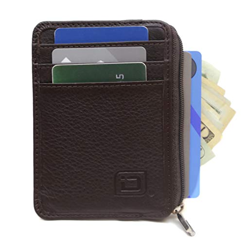 ID STRONGHOLD RFID Front Pocket Wallet Mini Minimalist Wallet Slim Wallet Genuine Leather with Zipper (Brown)