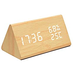 Mucjun Digital Alarm Clock,Voice Control Wooden Alarm Clock Electric LED Light Minimalist Batteries or USB Charger Triangle Clock Display Time Date Humidity Temperature Bedside Clock - bamboo