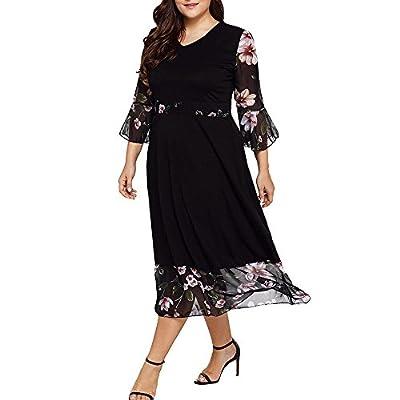 Toimothcn Chiffon Dress, Women Black Plus Size Floral Print Long Sleeve Dresses