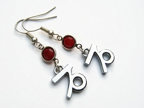 (Chrome Capricorn the Goat Birthstone Earrings, Personalized Zodiac Earrings, Astrology Charm Jewelry)