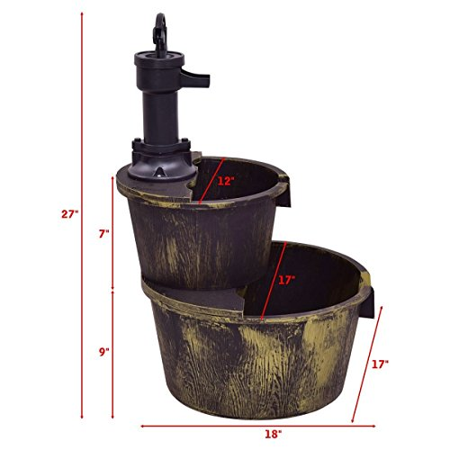 Giantex 2-Tier Barrel Water Fountain Rustic Wood Barrel Water Fountain w/Pump Outdoor Garden Decorative, 27 Inch Tall by Giantex (Image #3)