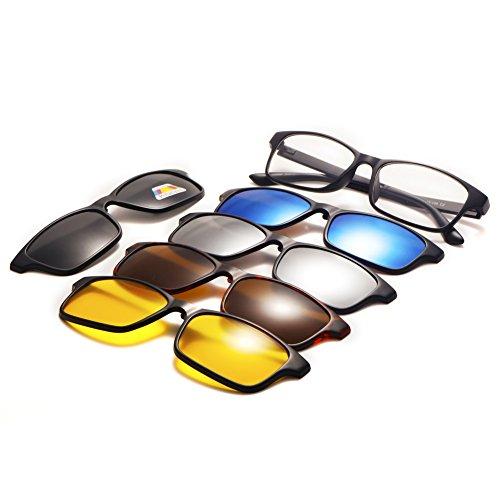 de Driving protección Mujeres Gafas TIMWILL Unisex Polarizado Lentes de TR90 sol Night gafas plástico 5Pcs on magnético Marco Clip Hombres de 2252a sol UV400 HT4w0Txp