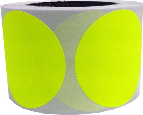 "3"" Inch Round Fluorescent Yellow Color Coding Dot Labels - 500 Colored Circle Inventory Stickers Per Roll"