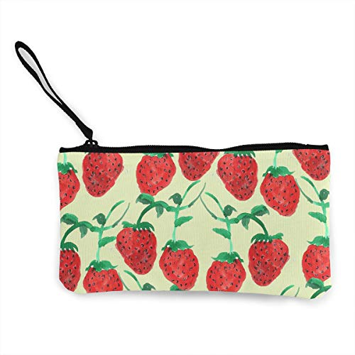 (Oomato Canvas Coin Purse Painting Strawberry Cosmetic Makeup Storage Wallet Clutch Purse Pencil)