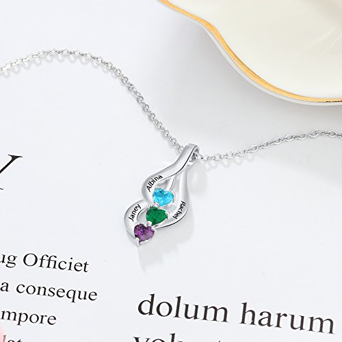 Love Jewelry Personalized 3 Heart Simulated Birthstone Mothers Pendant Necklace with 3 Names Family Pendants for Mother by Love Jewelry (Image #5)