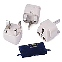 Wonpro Grounded Travel Plug Adapter Type G for UK, Ireland, Singapore, UAE - CE Certified - 3 Pack