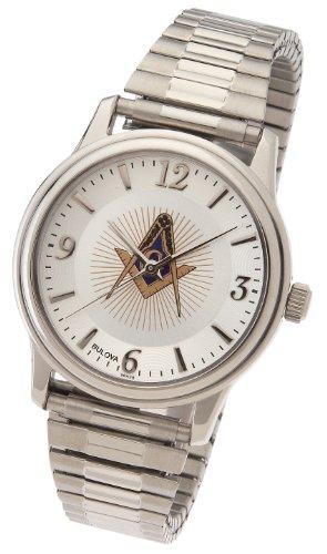 US Jewels And Gems Men's Stainless Steel Bulova Masonic Blue Lodge Watch
