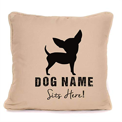 Personalised Dog Gift Pillow Case - Chihuahua - Customizable Cushion Cover - 18 x 18 Inch