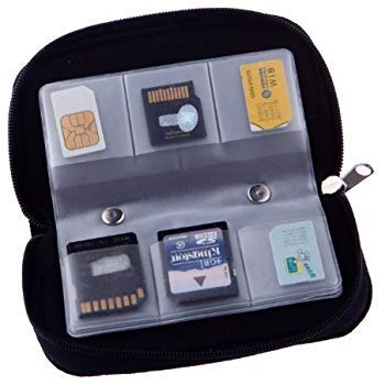 SDHC 8 Pages Micro SD Mini SD and 4X CF Fits up to 22x SD Memory Card Case - for Storage and Travel Holder with 22 Slots
