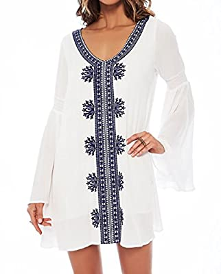 Bestyou Women's Embroideried Swimsuit Cover up Tunic Shirts Beachwear US XS-M