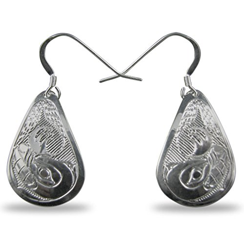 (Sterling Silver Bear Teardrop Earrings Native Northwest Coast)