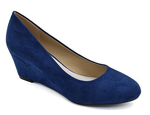 (Greatonu Women's Navy Comfort Almond Toe Mid Heel Wedge Pump Shoes Size 8)