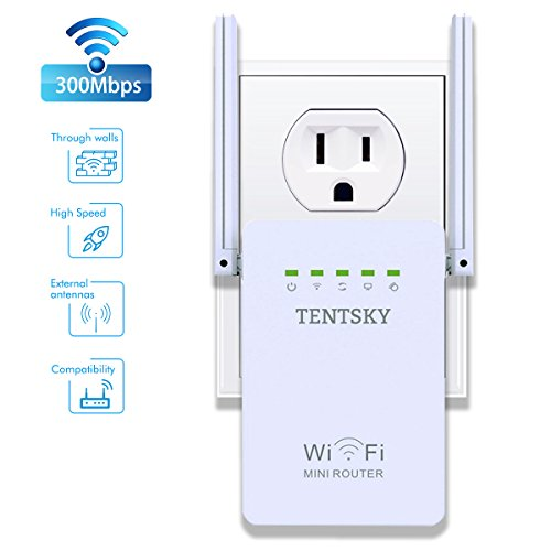 TENTSKY 300Mbps WiFi Router Long Range Extender 2.4GHz WiFi Repeater Signal Amplifier Booster Network Extender with Dual Band Antenna Complies IEEE802.11n/g/b with Repeater/Router/AP Mode