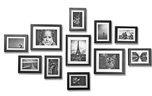 Solid Wood Photo Gallery Wall Frame Set - 11 Frames - Glass Window- With White Picture Mats - Frame Width 2cm - Black