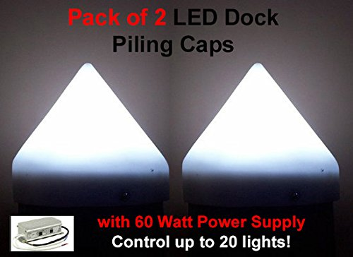 """Set of 2 12"""" LED White Illuminating Dock Piling Caps (2 Watts Each) with 12V 60 Watt Power Supply – Control up to 20 Lights!"""