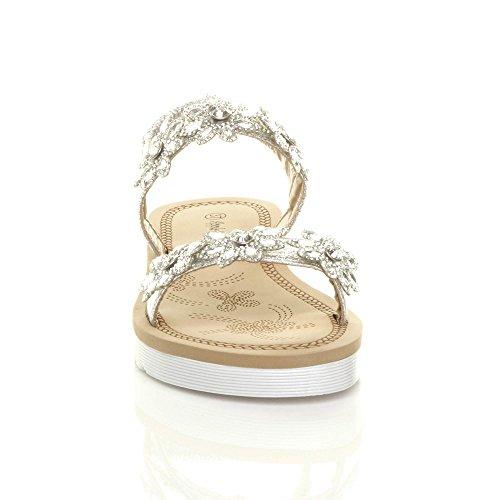 t bride Bar Sandales Diamante arrière dames Femmes talon Flatform compensé à Y7wnXzCq