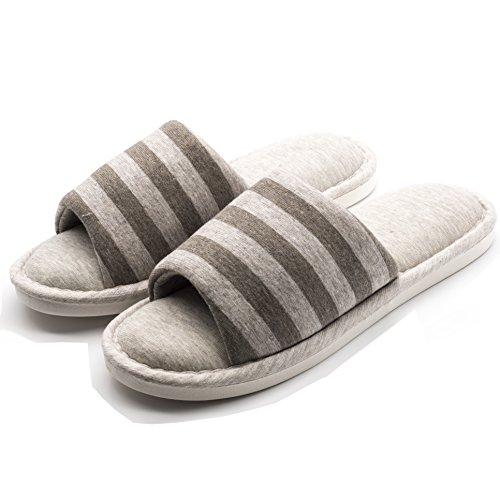 MesFemmes Messieurs Pantoufles Plates Bandes Souples Pantoufles Chaudes Pantoufle Chaussures D'intérieur - Khaki - NK28rIBjg