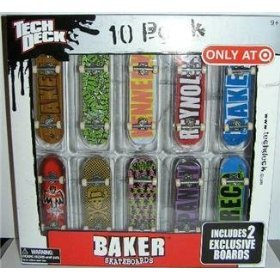 Tech Deck 10 Pack Baker Skateboards ''Only At Target'' 2 Exclusive Boards