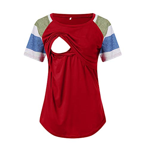 FRana Maternity Shirts for Women Casual Nursing Stripe Solid Short Sleeve Round Neck Breastfeeding Blouse Fashion Tops Red