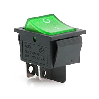 5X Green Lamp 4 Pin ON//OFF 2 Position DPST Rocker Switch 16A//250V KCD4-2RSZ8