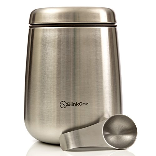 (BlinkOne Coffee Canister: Airtight Coffee Bean Container Storage with Magnetic Scoop (18 oz))