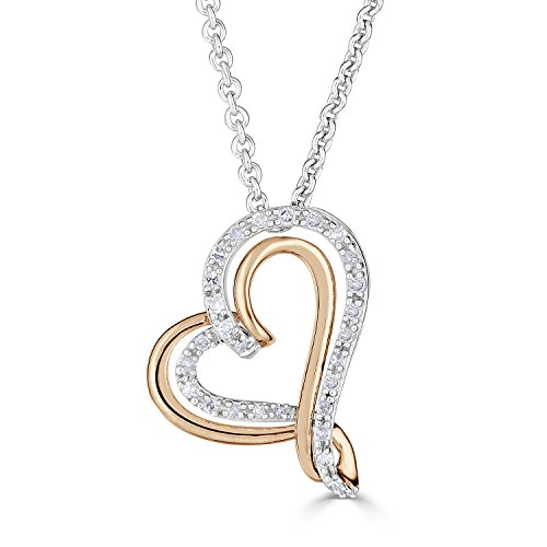 Diamond Heart Necklace in Rhodium Plated Sterling Silver and 10k Rose Gold by Diamond Classic Jewelry