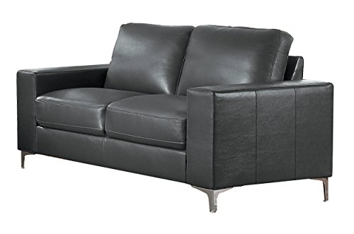 Loveseat Leather Rustic (Homelegance Track Arm Loveseat with Metal Accent Leg Leather Gel Match, Grey)
