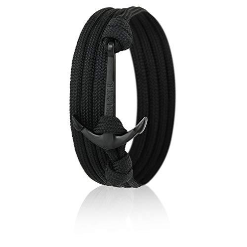 Skipper Anker-Armband mit Edelstahl Anker für Damen und Herren – Schwarz