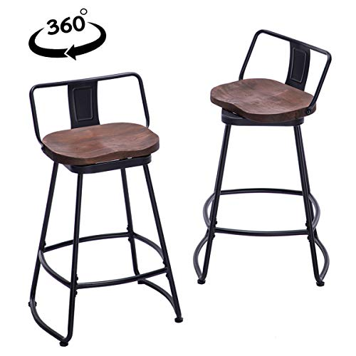 YongQiang Saddle Metal Bar Stools Set of 2 Low Back Swivel Wooden Seat Industrial Indoor Outdoor Bar Chairs 24 Matte Black