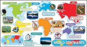 Scholatic 9780545118392 World Continents Design Bulletin Board Set