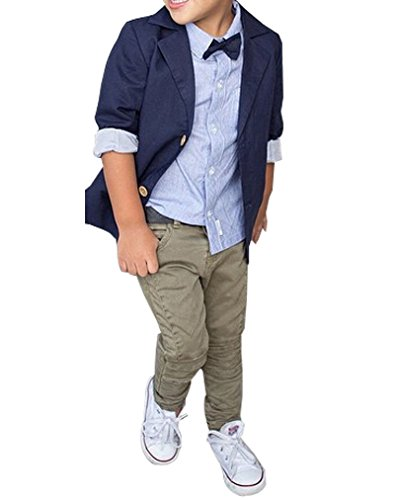 Kids Baby Boys Gentleman Sets Jacket + Shirt + Pants 3pcs Leisure Suit (5T, Navy ()