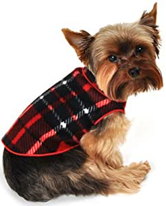 I See Spot's Dog Pet Fleece Pullover, Sweater, Blanket Plaid, XX-Small, Red