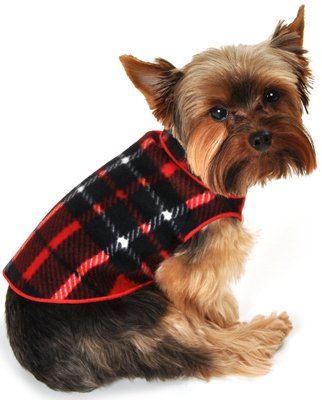 I See Spot's Dog Pet Fleece Pullover, Sweater, Blanket Plaid, Large, Red, My Pet Supplies