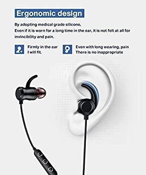 Bluetooth Headphones SANAG W8 Wireless Stereo Magnetic in Ear Earbuds Mic IPX4 Waterproof Sport Running Gym Travelling 8 Hrs Playtime Bluetooth 4.1 for iOS Android Cell Phone Black
